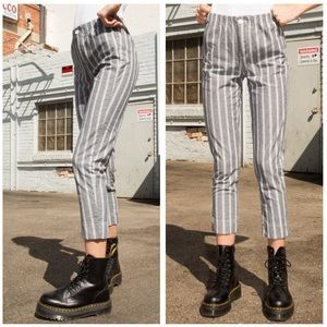Striped Light Cotton Cropped Trouser Pant
